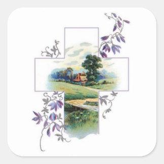 Het Christelijke Kruis van het platteland Vierkante Sticker
