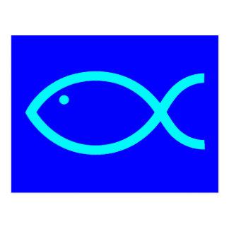 Het Christelijke LUIDE Symbool van Vissen -! Blauw Briefkaart
