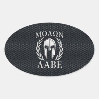 Het Chroom van Labe van Molon zoals Spartaanse Ovale Sticker