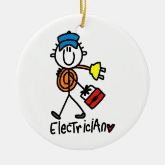 Het Cijfer van de Stok van de elektricien Rond Keramisch Ornament