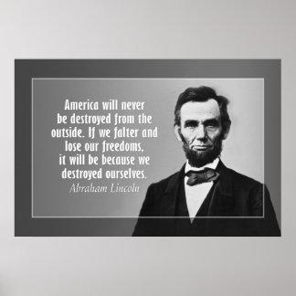 Het Citaat van Abraham Lincoln op Amerika Poster