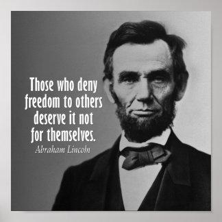 Het Citaat van Abraham Lincoln op de Slavernij Poster