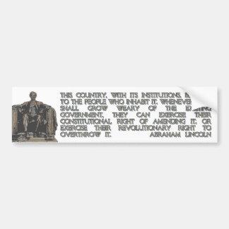 Het Citaat van Abraham Lincoln op ons Revolutionai Bumpersticker