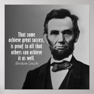 Het Citaat van Abraham Lincoln op Succes Poster