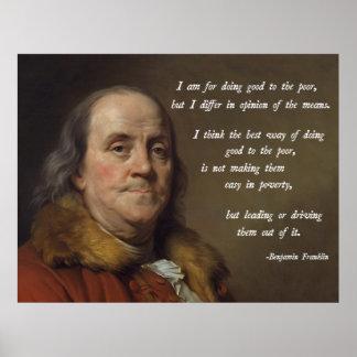 Het Citaat van de Armoede van Franklin Poster