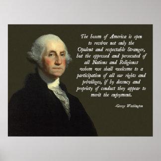 Het Citaat van de Immigratie van George Washington Poster