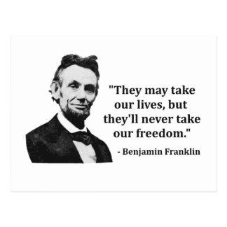 Het Citaat van de Sleeplijn van Abraham Lincoln Briefkaart