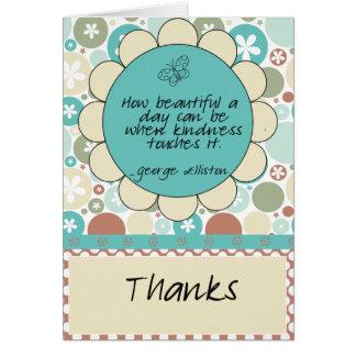Het Citaat van de vriendelijkheid dankt u kaardt Kaart