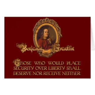 Het Citaat van Franklin van Ben:  Veiligheid over Briefkaarten 0