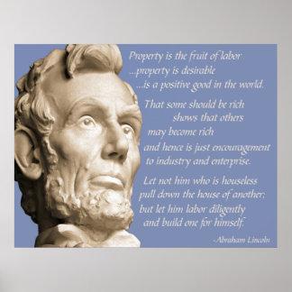 Het Citaat van het Bezit van Lincoln Poster
