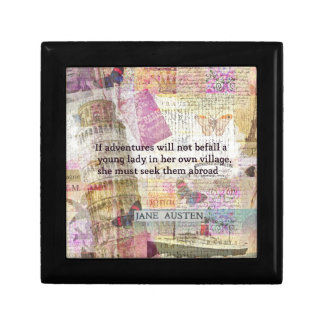 Het citaat van het de reisavontuur van Jane Austen Decoratiedoosje