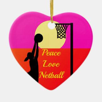 Het Citaat van het Netball van de Liefde van de Keramisch Hart Ornament