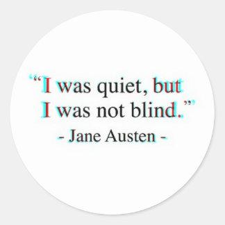 Het citaat van Jane Austen Ronde Sticker