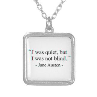 Het citaat van Jane Austen Zilver Vergulden Ketting