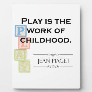 Het Citaat van Piaget - het Spel is het Werk van Fotoplaat