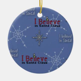 Het Collectie van Kerstmis gelooft in Kerstman Rond Keramisch Ornament