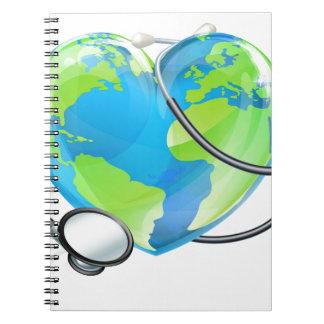 Het Concept van de Gezondheid van het Wereldbol Notitieboek