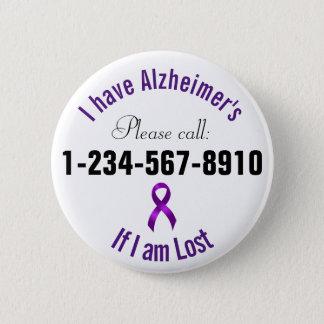 Het Contact van de Noodsituatie van Alzheimers Ronde Button 5,7 Cm