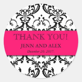 Het damast dankt u het Hete Roze van de Gunsten Ronde Sticker