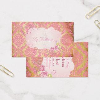 Het damast/faux het perkament van de Rozet van Visitekaartjes