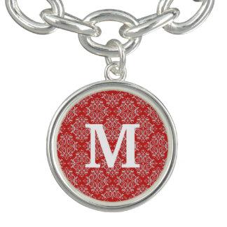 Het Damast/het rood van het monogram Armbanden