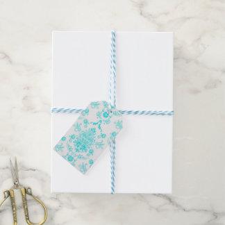 Het Damast van Aqua op Wit Elegant Ontwerp Cadeaulabel