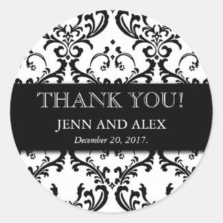 Het Damast van de Gunst van het huwelijk dankt u Ronde Sticker