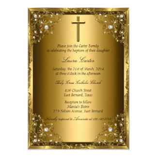 Het Damast van de parel & Dwars Gouden Doopsel 12,7x17,8 Uitnodiging Kaart
