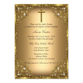 Het Damast van de parel & Dwars Gouden 12,7x17,8 Uitnodiging Kaart