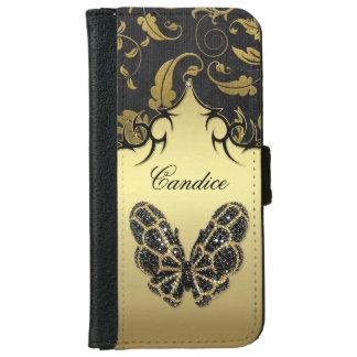 Het Damast van de Vlinder van Jeweled - iPhone 6 iPhone 6 Portemonneehoesje