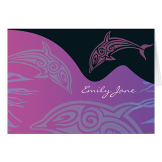 Het DANSEN Gevouwen de DOLFIJNEN danken kaart-Roze Briefkaarten 0