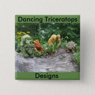 Het dansen het Design Triceratops knoopt Vierkante Button 5,1 Cm