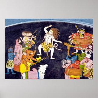 Het Dansen van Shiva het Indische Schilderen Poster