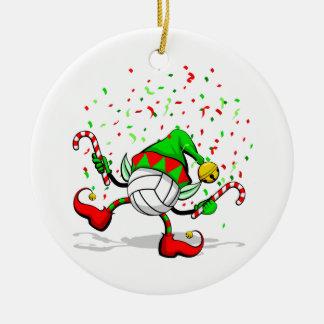 Het dansende Elf van Kerstmis van het Volleyball Rond Keramisch Ornament