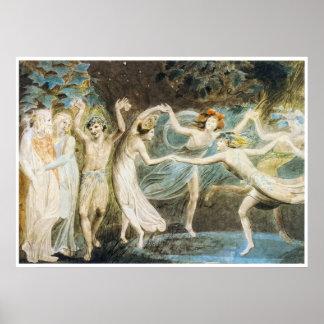 Het dansende Poster van Feeën door William Blake