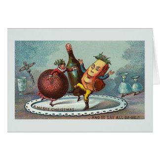 """Het """"dansende Voedsel van Kerstmis!"""" Vintage Kaart Kaart"""