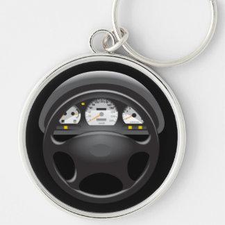 Het Dashboard & Stuurwiel Keychain van de auto Zilverkleurige Ronde Sleutelhanger