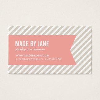 Het de Beige & Roze Moderne Strepen & Lint van het Visitekaartjes