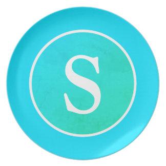 Het de Blauwe & Groene Vintage Cirkel & Monogram Melamine+bord