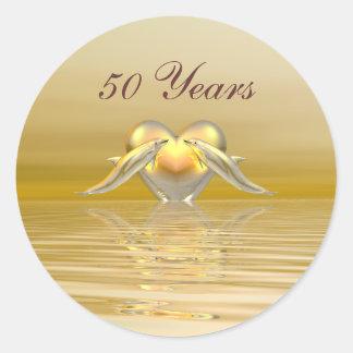 Het de gouden Dolfijnen en Hart van het Jubileum Ronde Sticker