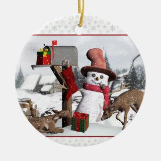 Het de verfraaide Herten van de Sneeuwman van de Rond Keramisch Ornament