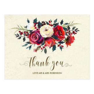 het de winter huwelijk dankt u rozenbessen briefkaart