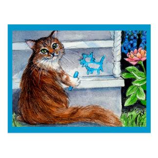 Het de zwerverteken van de kat, vriendelijke dame briefkaart
