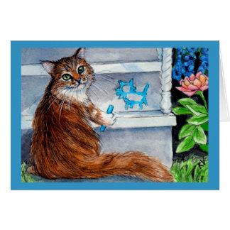 Het de zwerverteken van de kat, vriendelijke dame kaart