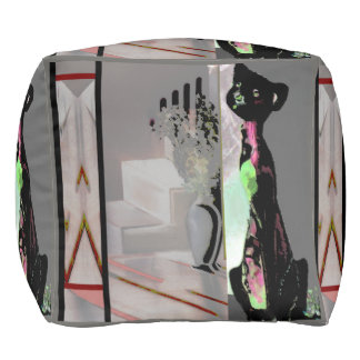 Het decor-Grijs/Zwarte poef-Huis van het Landgoed Vierkante Poef