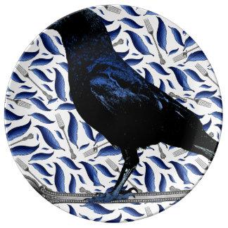 Het Decoratieve Bord van de vogel en van de Vork Porselein Bord