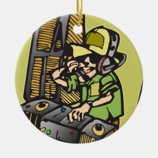 Het Deejay van DJ Rond Keramisch Ornament