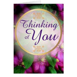 Het denken aan u de Paarse Roze Bloemen van Kaart
