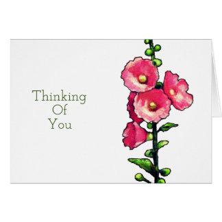 Het denken aan u, de Roze Bloemen van de Stokroos, Wenskaart