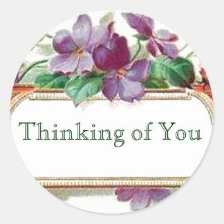 Het denken aan u Retro Vintage BloemenViooltjes Ronde Sticker